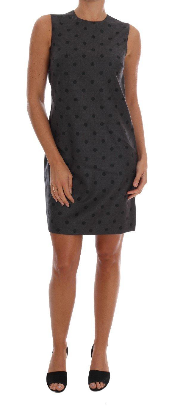 Dolce & Gabbana Women's Polka Dotted Sheath Wool Dress Gray DR1215 - IT40 S