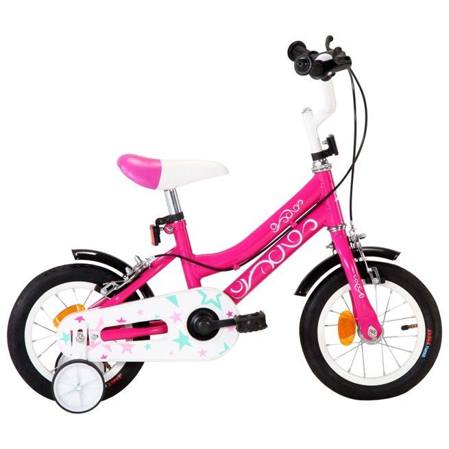 vidaXL Barncykel 12 tum svart och rosa