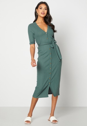 Happy Holly Sandie rib dress Green 40/42