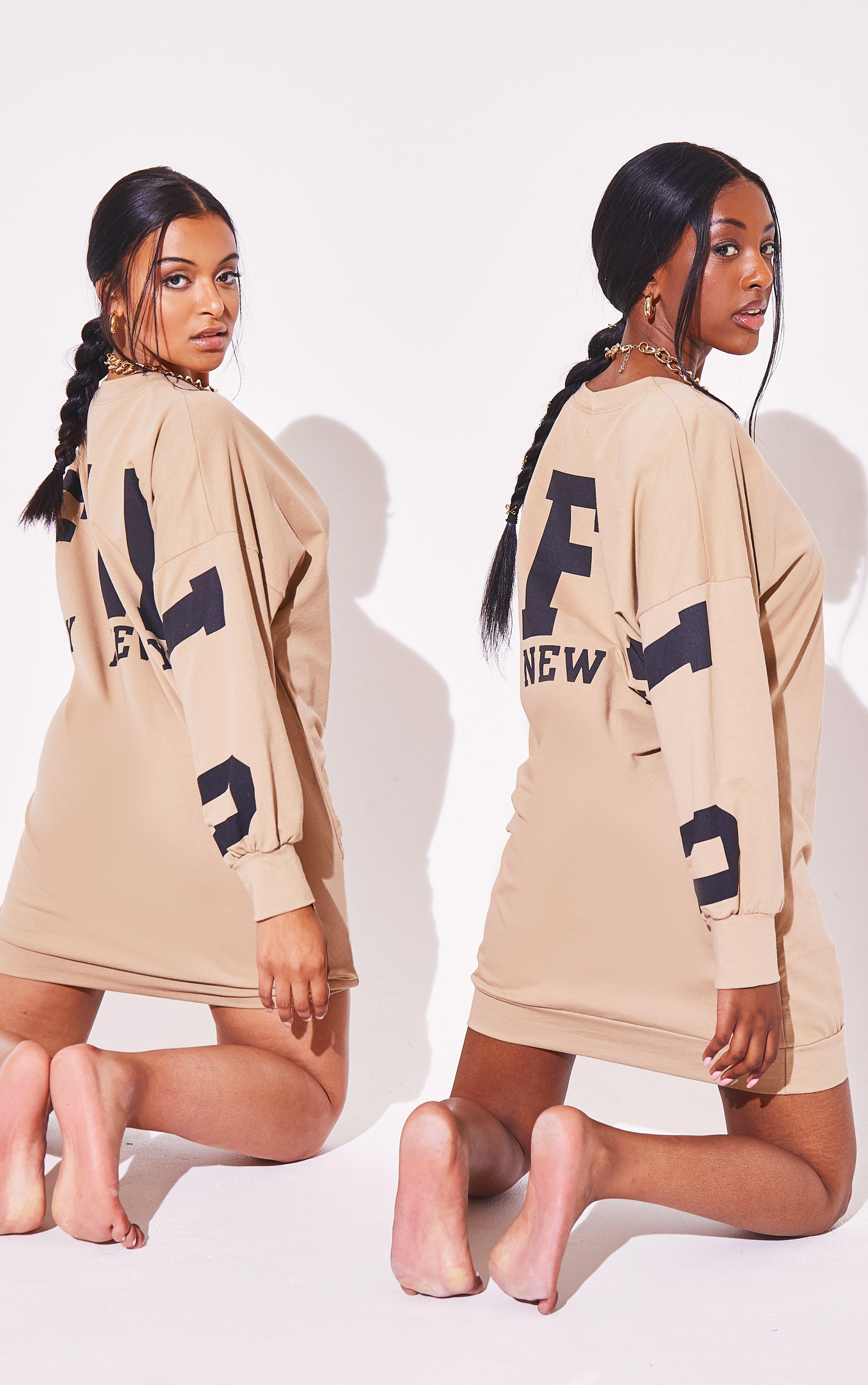 Slogan Oversized Jumper Dress - Beige / 8