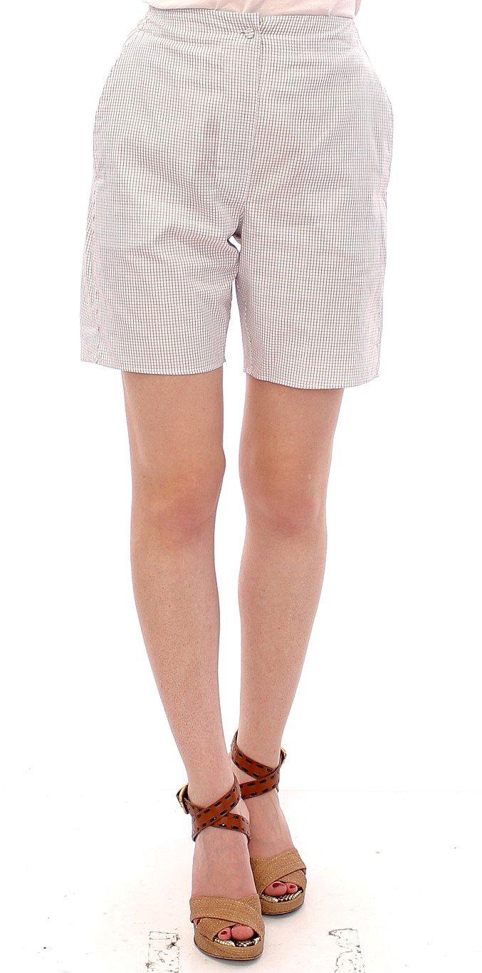Andrea Incontri Women's Checkered Stretch Cotton Shorts White GSS10709 - IT42|M