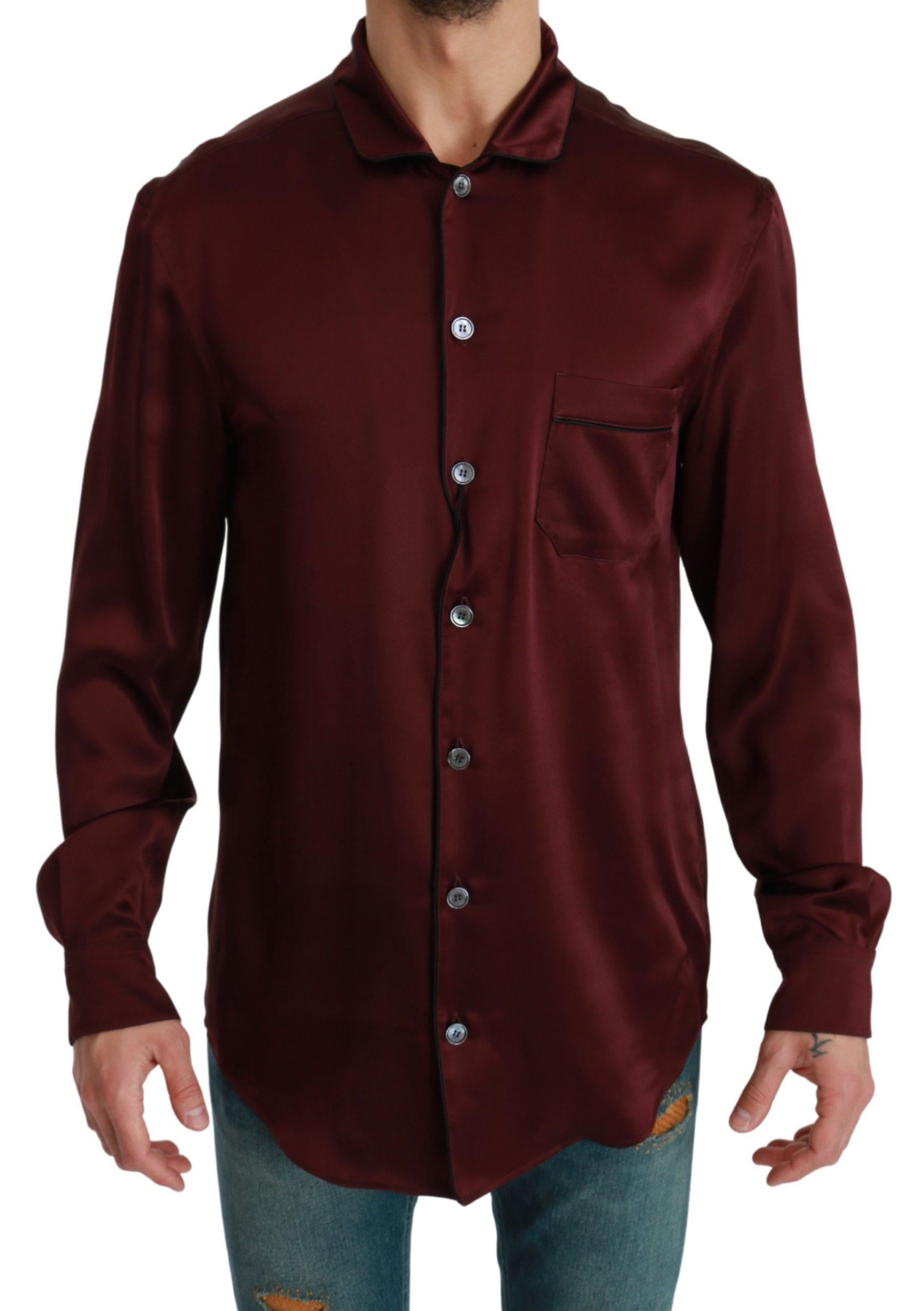Dolce & Gabbana Men's Silk Pajama Casual Shirt Bordeaux TSH4616 - IT39 | S