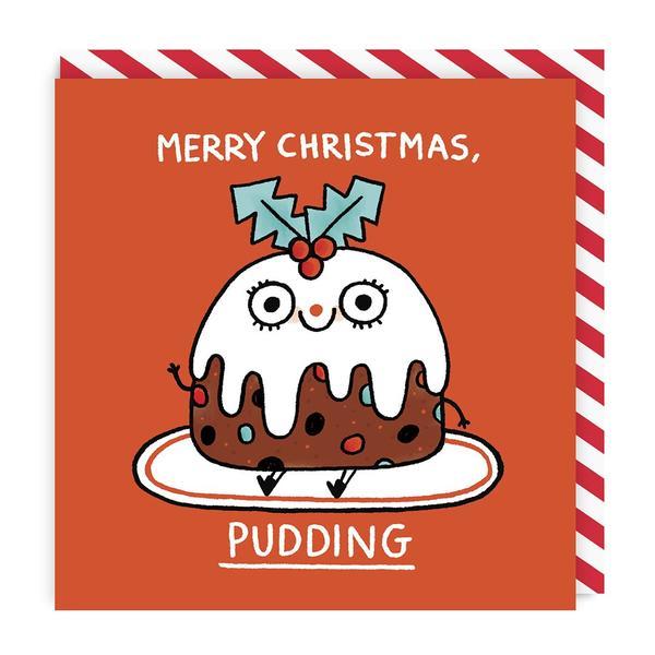 Merry Christmas Pudding Square Christmas Card