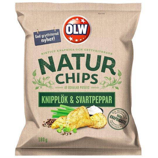 """Chips """"Knipplök & Svartpeppar"""" 180g - 32% rabatt"""