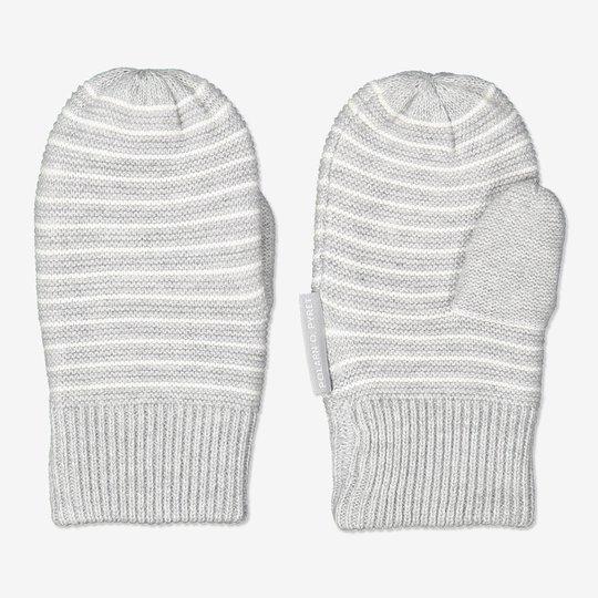Stripete strikkevotter baby hvit