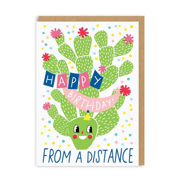 Birthday From A Distance Cactus Greeting Card