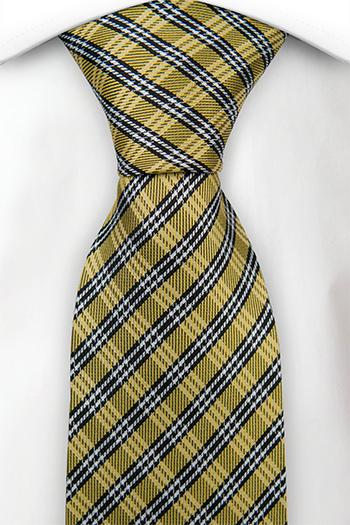 Silke Slips, Detaljert rutet mønster i svart, gull og hvit, Gull, Pledd
