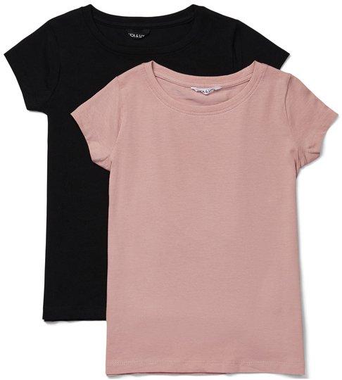 Luca & Lola Fanny Topp 2-pack, Black/Pink 134-140