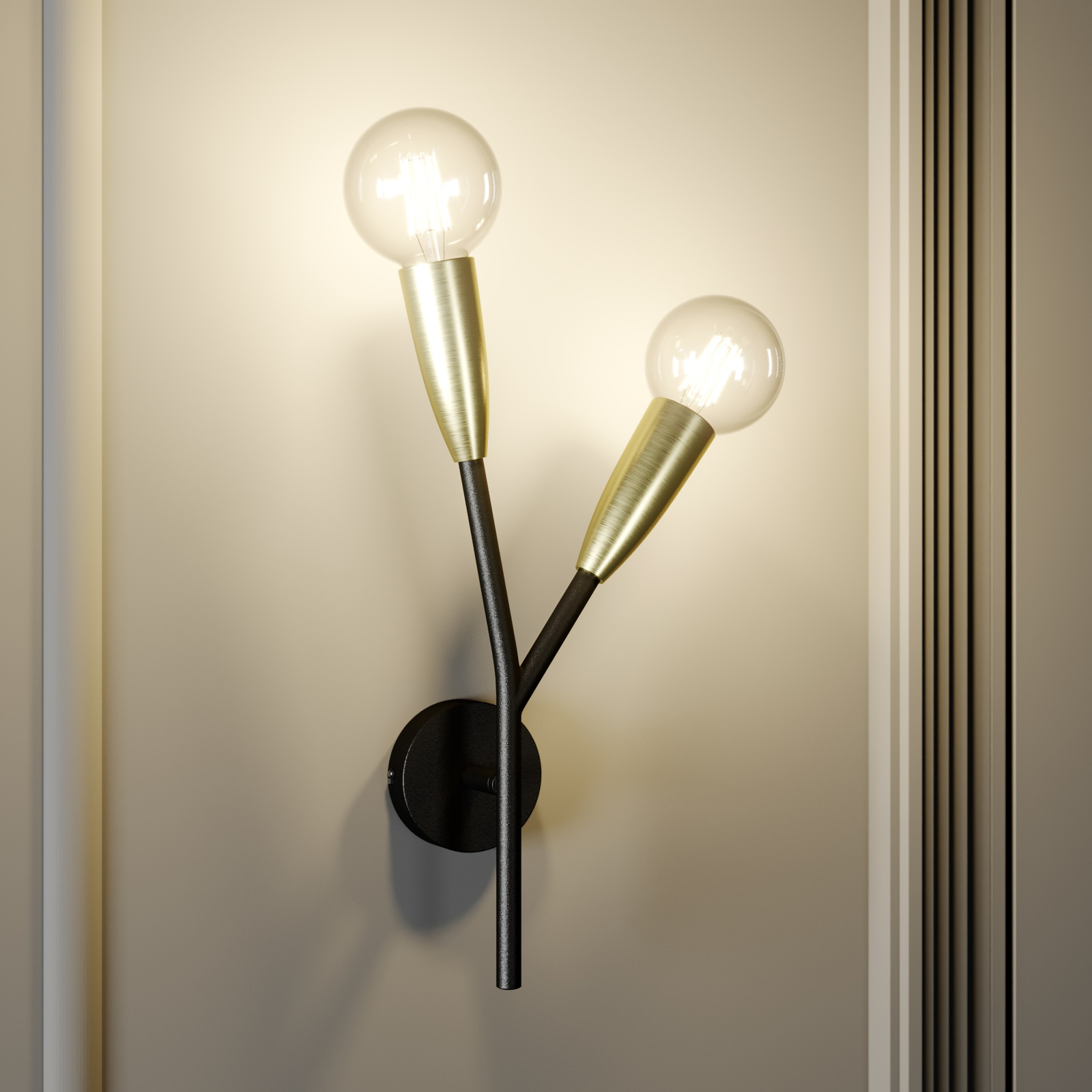 Lucande Carlea -seinävalo, 2-lamp. musta-messinki