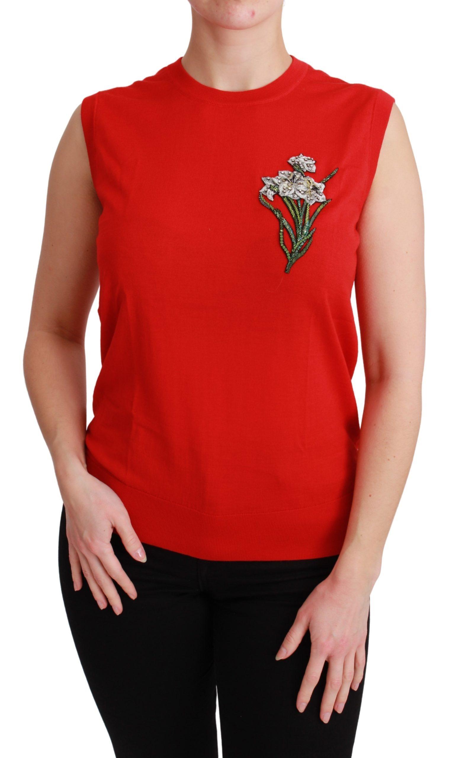 Dolce & Gabbana Women's Crystal Flower Top Red TSH4584 - IT44 L