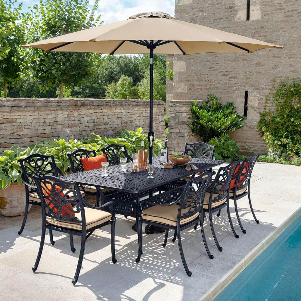 2021 Hartman Capri 8 Seat Rectangular Garden Dining Table Set - Bronze/Amber