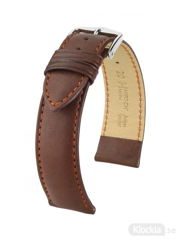 Hirsch Merino, Artisan Leather 18mm Large Guldbrun/Silver 01206070-2-18