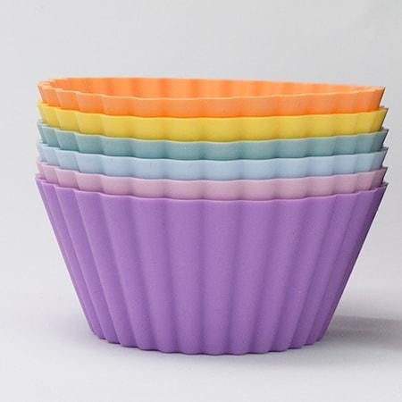 Stora muffinsformar, färgmix regnbågspastell, 6-pack
