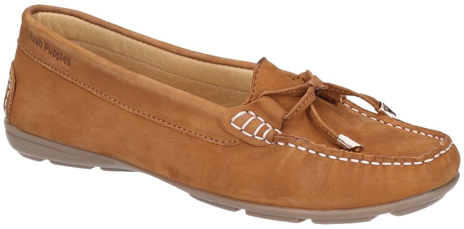 Hush Puppies Women's Maggie Slip On Loafer Shoe Various Colours 28405 - Tan 3