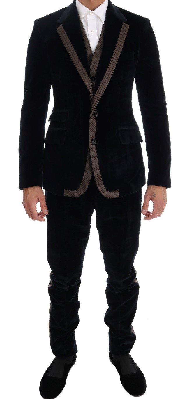 Dolce & Gabbana Men's Velvet Two Button Slim 3 Piece Suit Blue KOS1131 - IT44   XS