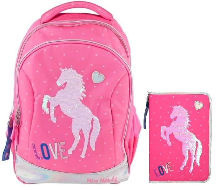 Miss Melody - Schoolbag + XXL Pencil Case - Pink