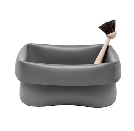 Oppvaskbalje med børste Grå