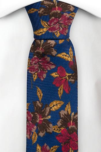 Silke Smale Slips, Flerfargede blomster på koboltblå, Blå, Blomstrete