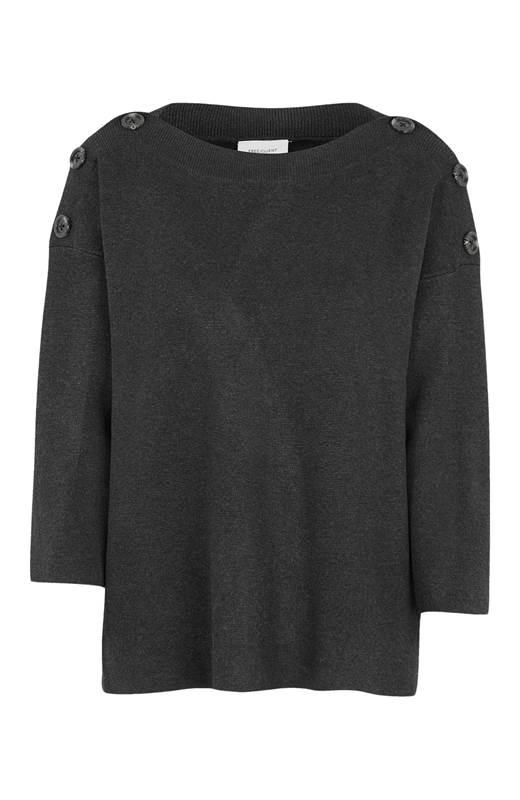 Freequent Stickad tröja Ani Mörkgrå Melange