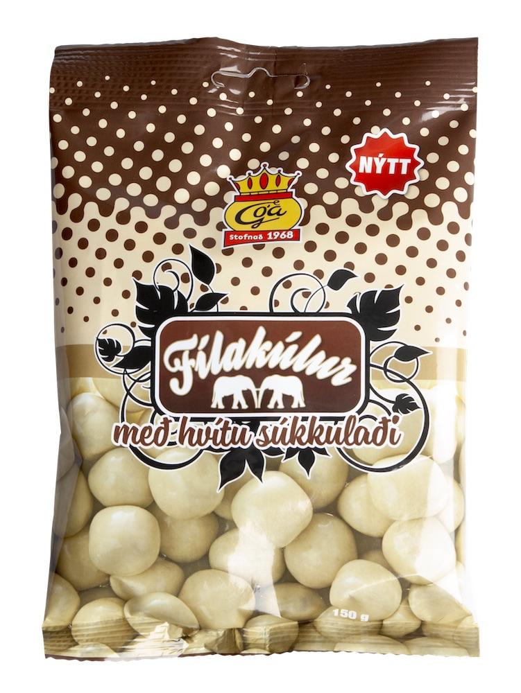 Fílakúlur med vit choklad 150g