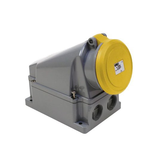 Garo UI 463-4 S + RU Seinäpistorasia IP44, 5-napainen, 63A Keltainen, 4 h