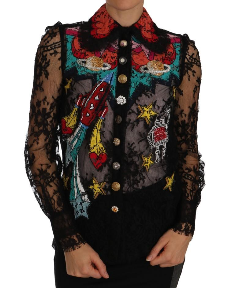 Black Lace Crystal SPACE Shirt - IT36 | XS
