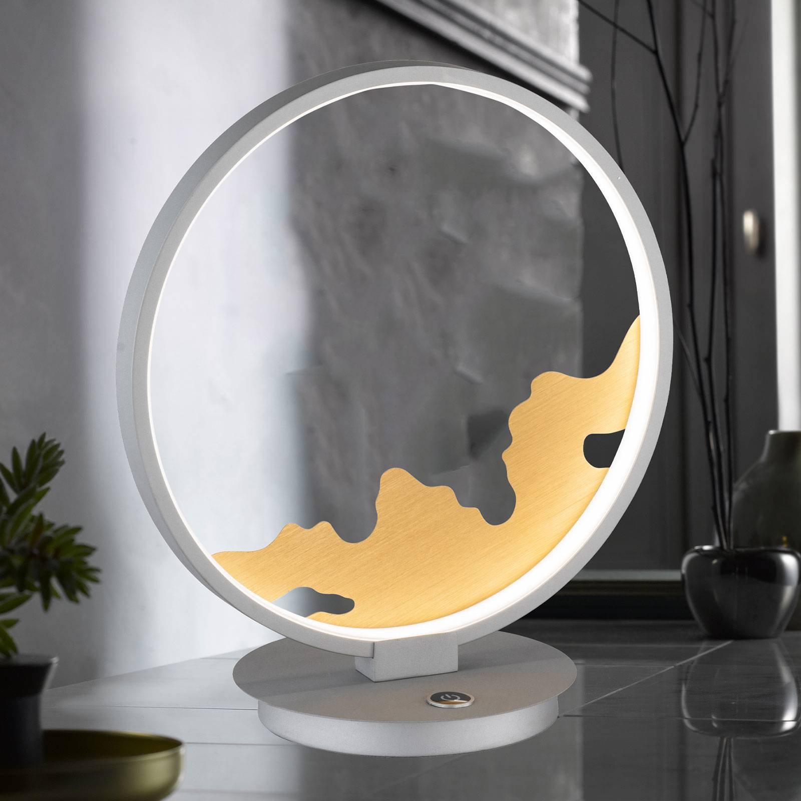 LED-bordlampe Modesto med gulldekorasjon
