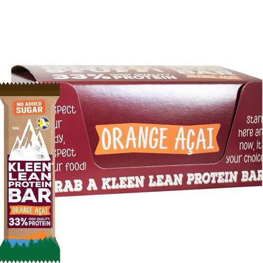 """Laatikollinen Luomu Proteiinipatukoita """"Orange Acai"""" 16 x 50g - 50% alennus"""