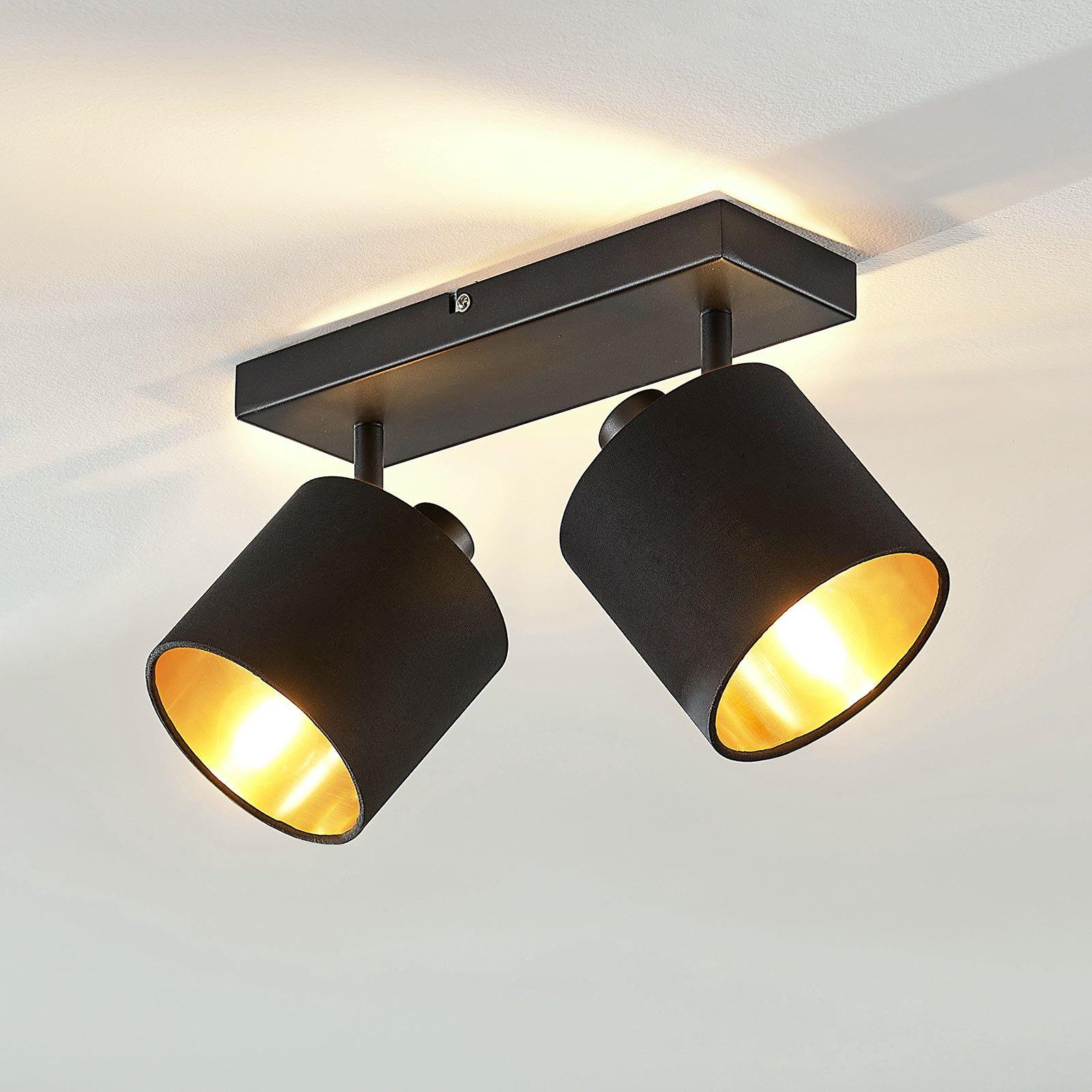 Stoff- taklampe Vasilia i svart-gull, 2 lyskilder