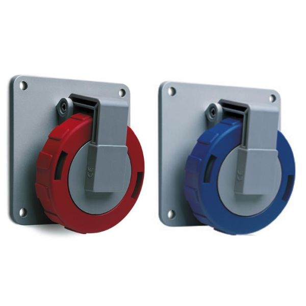 ABB 2CMA167012R1000 Seinäpistorasia IP67, 16 A, punainen 4-napainen