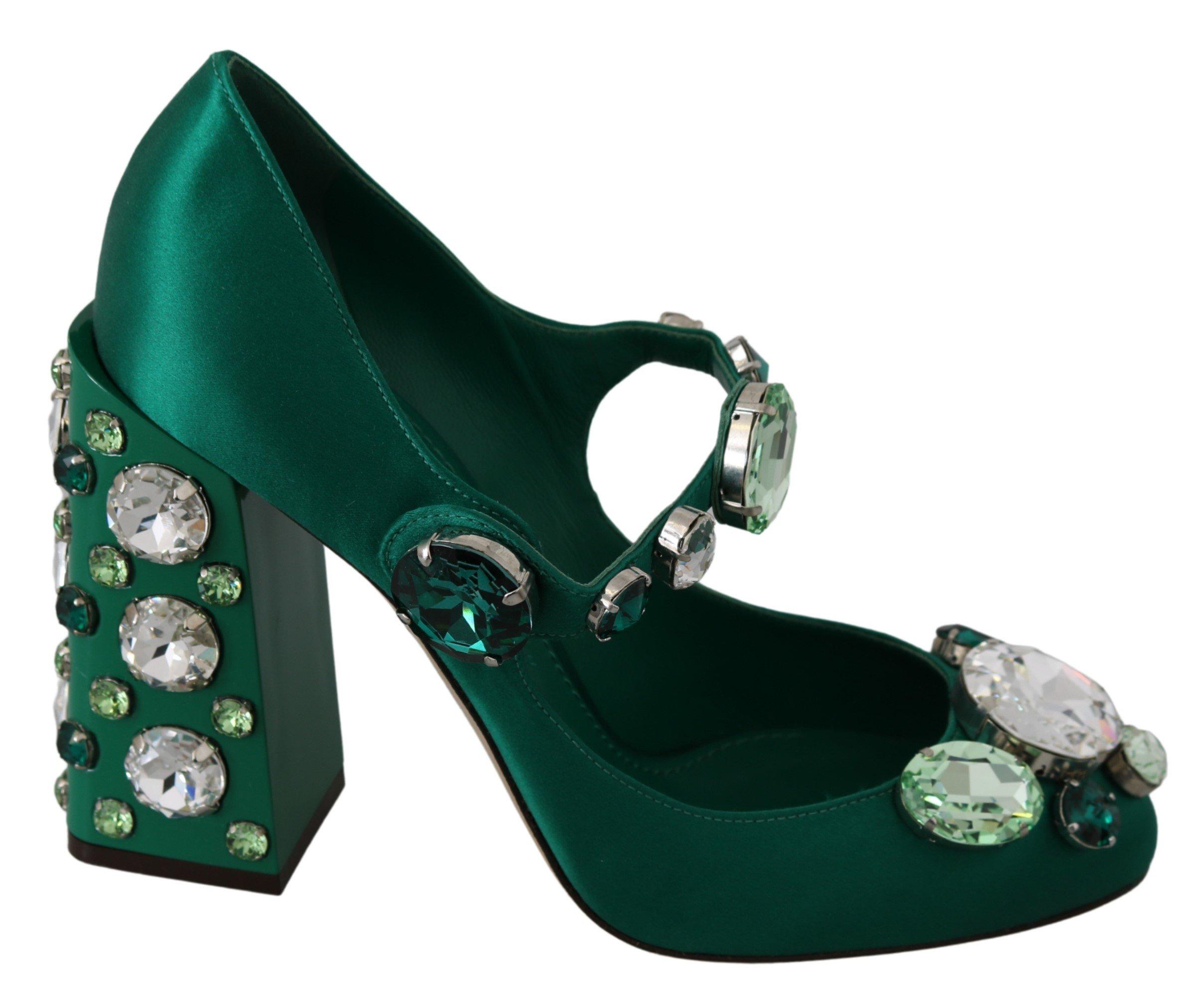 Dolce & Gabbana Women's Silk Mary Janes Crystal Pumps Green LA7234 - EU39/US8.5