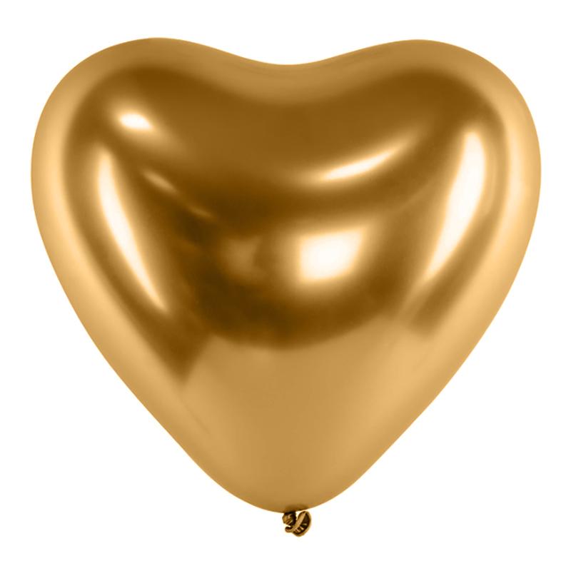 Hjärtballonger Krom Guld - 10-pack