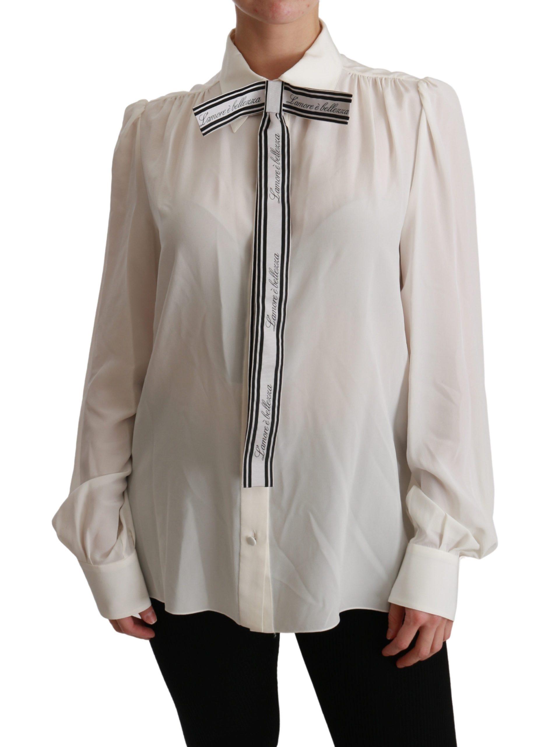 Dolce & Gabbana Women's Long Sleeve Silk Shirt White TSH4473 - IT44|L