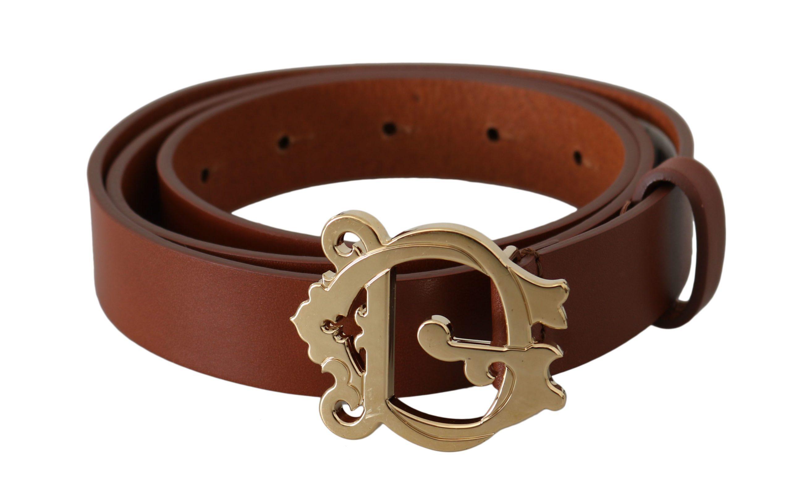 Dolce & Gabbana Women's Leather Baroque Buckle Belt Brown BEL60834 - 90 cm / 36 Inches