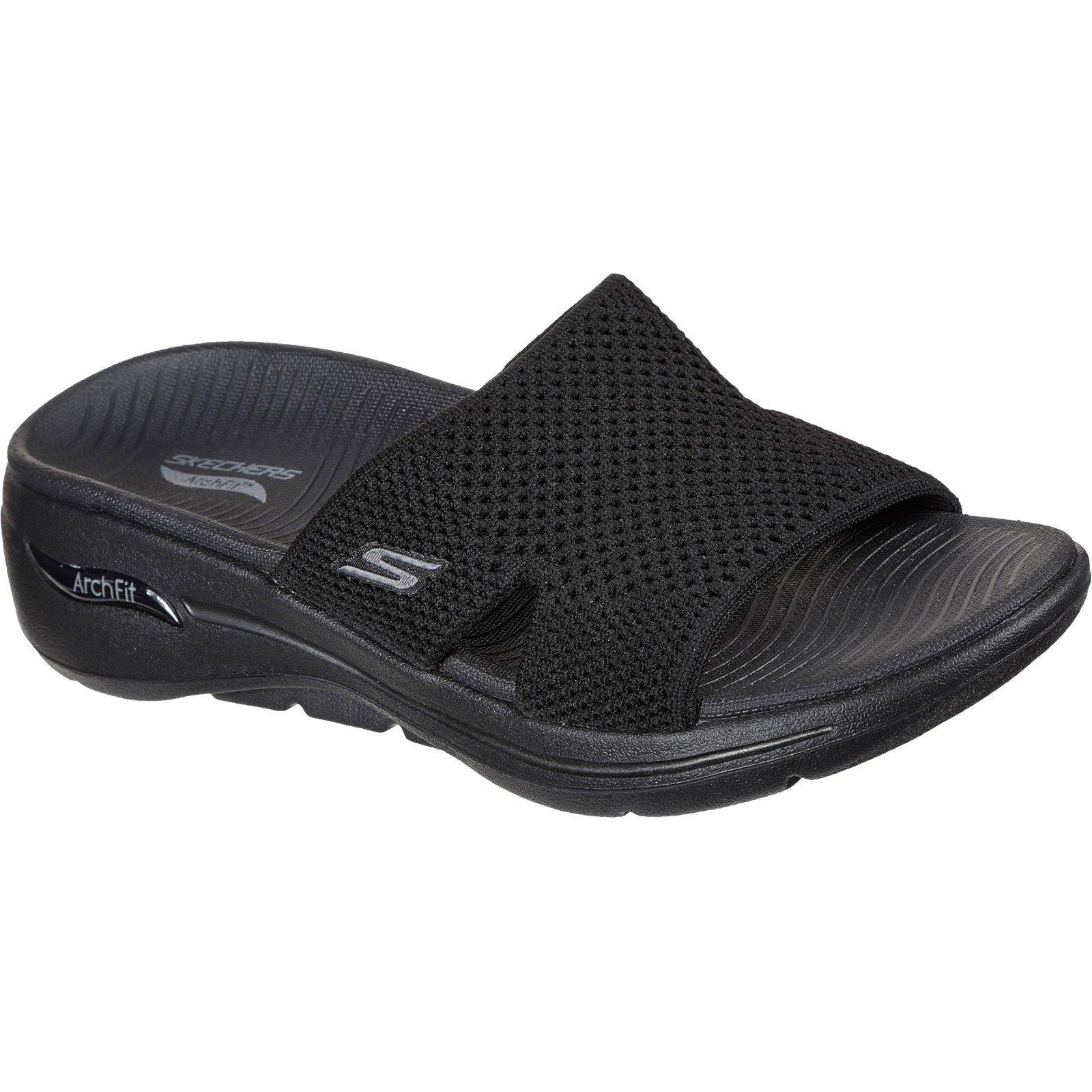 Skechers Women's Go Walk Arch Fit Worthy Summer Sandal Various Colours 32152 - Black 7