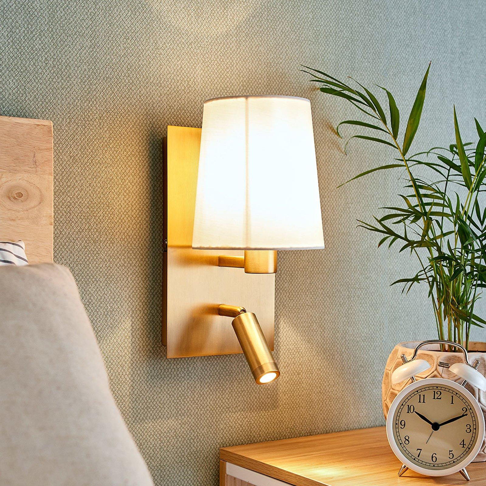 Vegglampe Aiden med LED-leselampe, antikkmessing