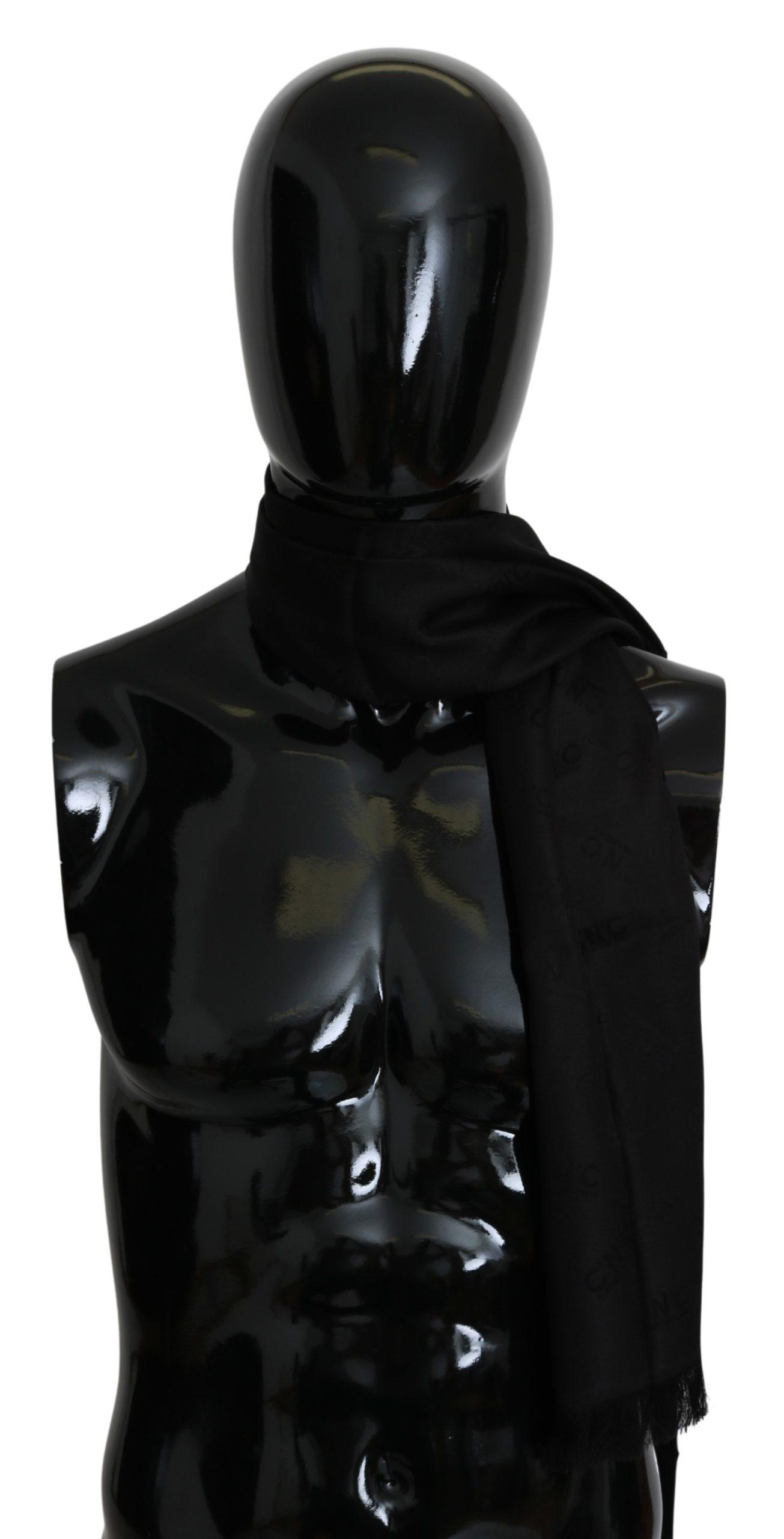 Costume National Men's Fringe Neck Wrap Silk Scarf Black MS1524