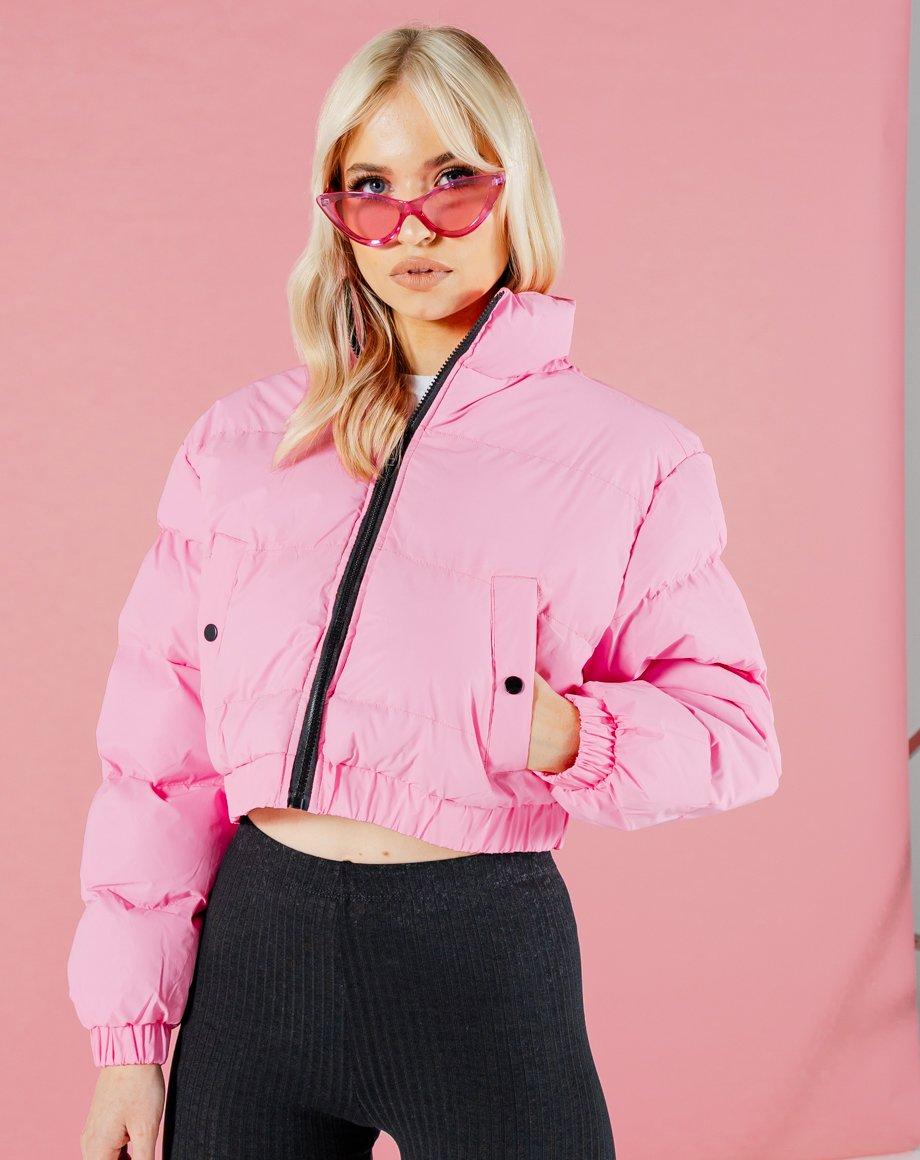 Crop Puffer Jacket - Hot Pink / 8