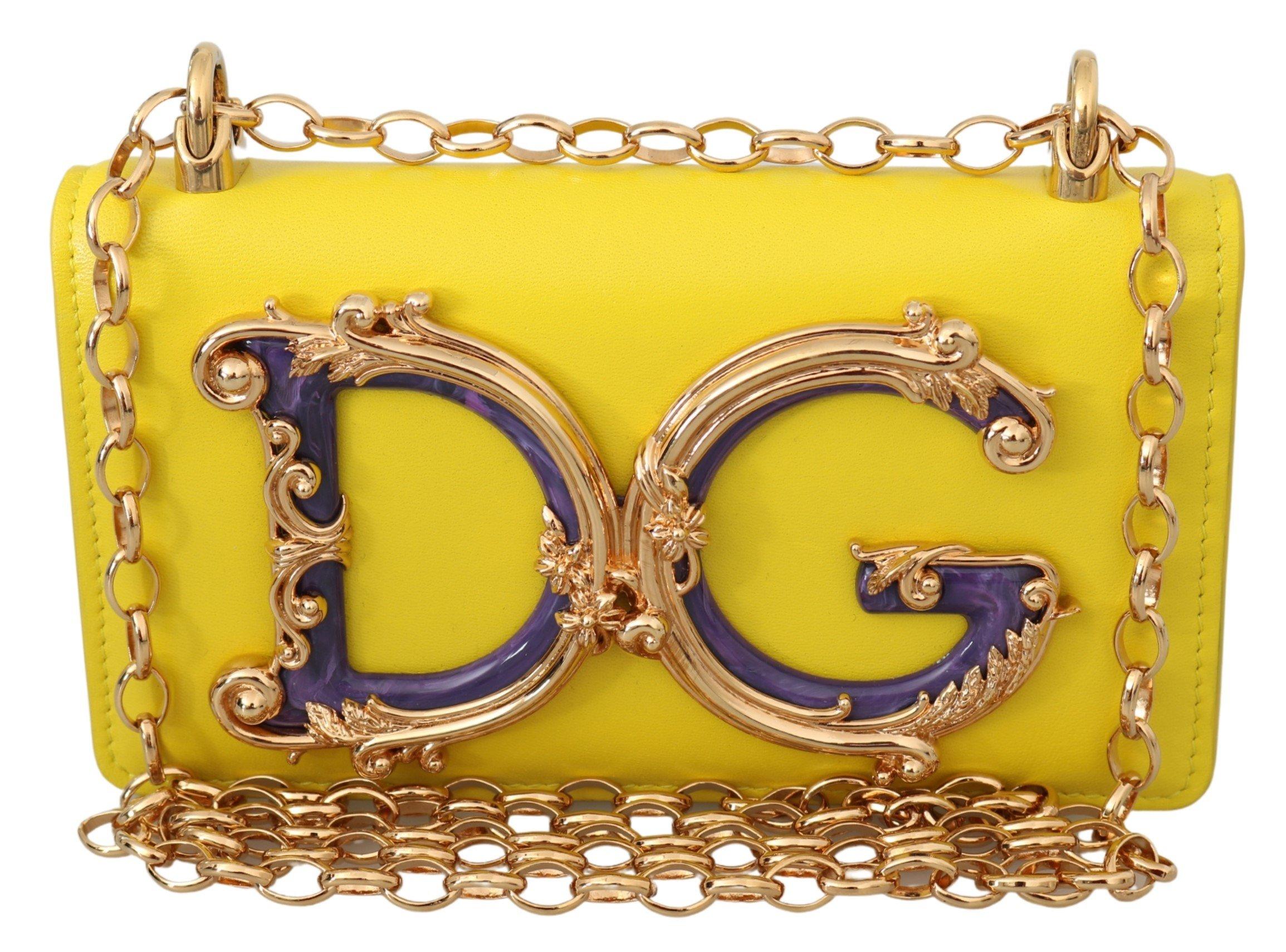 Dolce & Gabbana Women's Leather Logo iPhone X Cover Crossbody Bag Yellow VAS9908