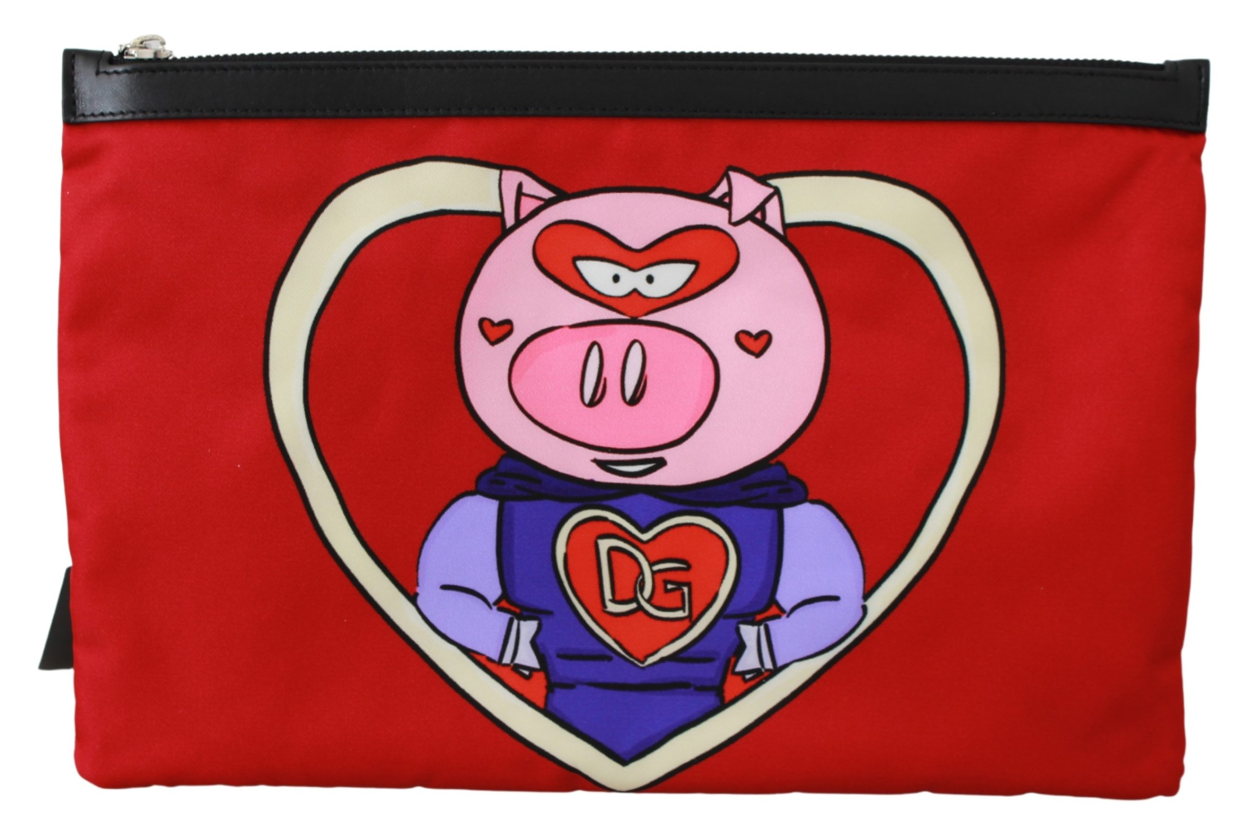 Dolce & Gabbana Men's Super Pig DG Love Print Hand Messenger Bag Red VAS9495