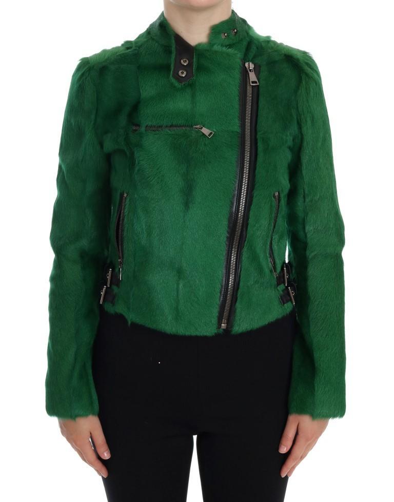 Dolce & Gabbana Women's Lamb Goat Fur Jacket Green JKT1008 - IT40 S