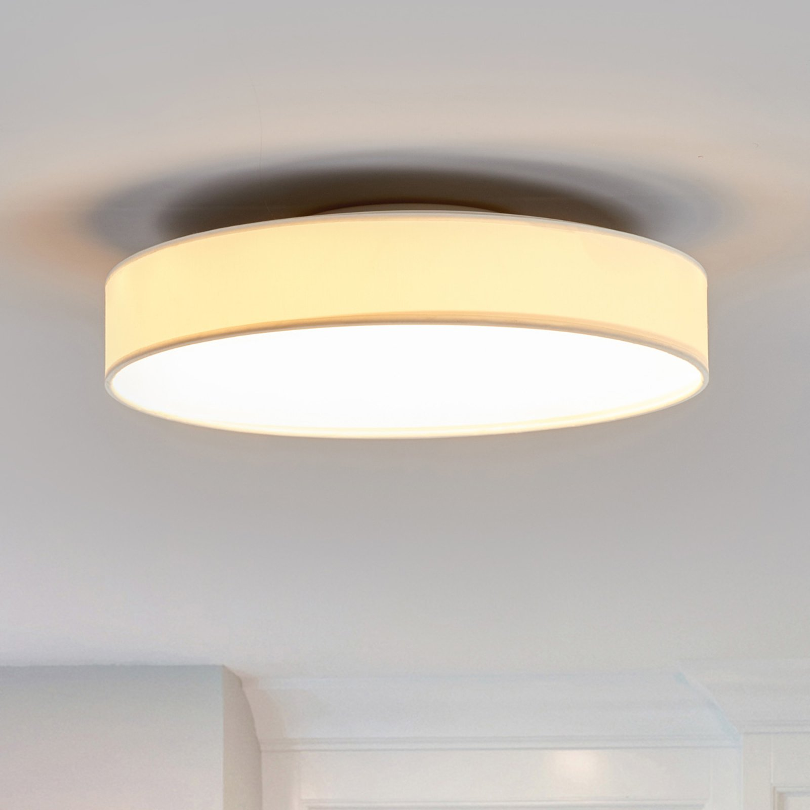 LED-stoff-taklampe Saira, 40 cm, hvit