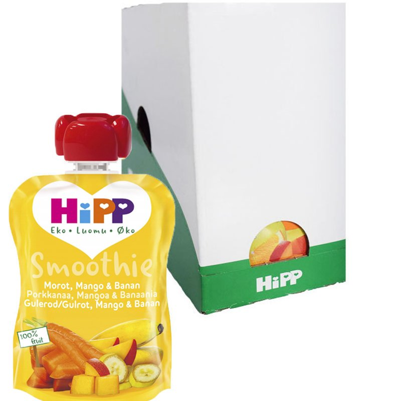 Laatikollinen smoothieita, porkkana, mango ja banaani, 6x90g - 26% alennus