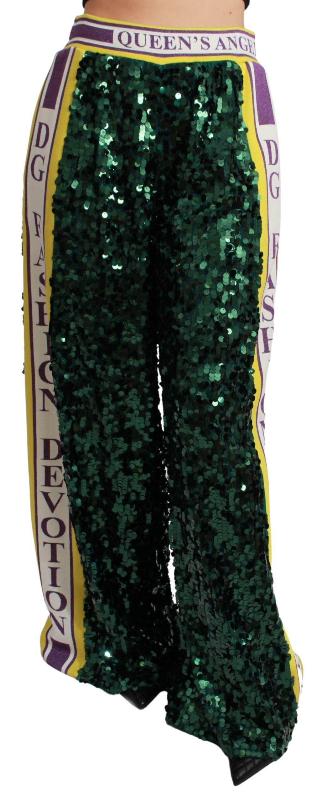 Dolce & Gabbana Women's Sequin Queens Angel Trouser Green PAN71051 - IT36   XS