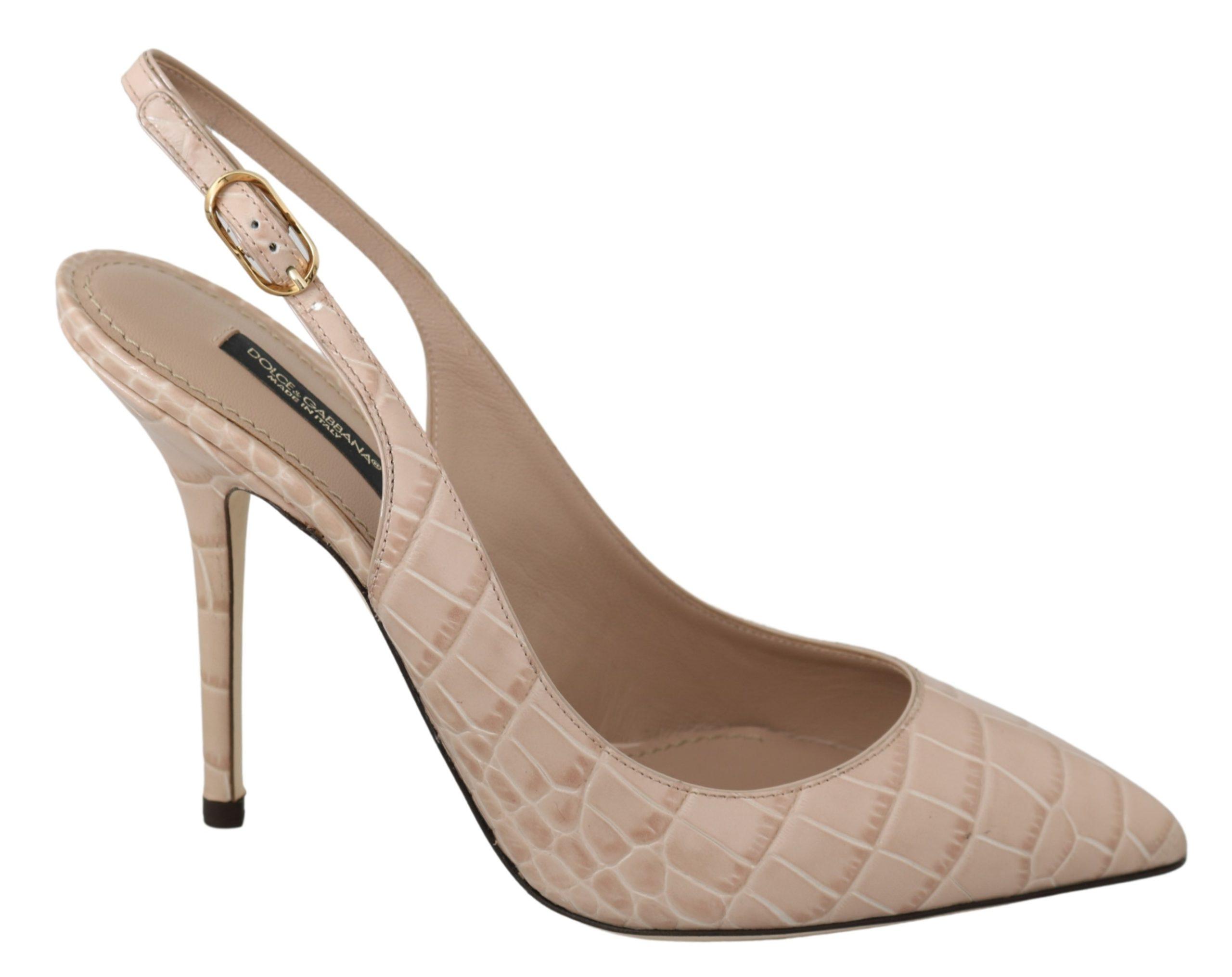 Dolce & Gabbana Women's Slingback Leather High Heels Beige LA6900 - EU39/US8.5
