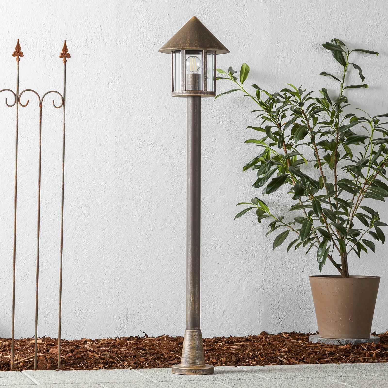 Lampione-antiikkipylväsvalaisin ruskea-messinki