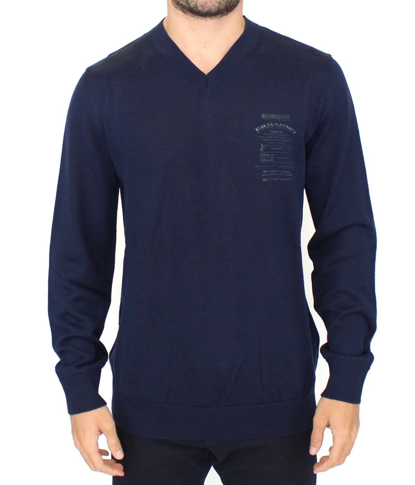 Ermanno Scervino Men's V-Neck Sweater Blue SIG10105 - IT54 | XL
