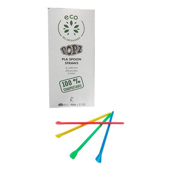 Plastsugrör med Sked - 200-pack