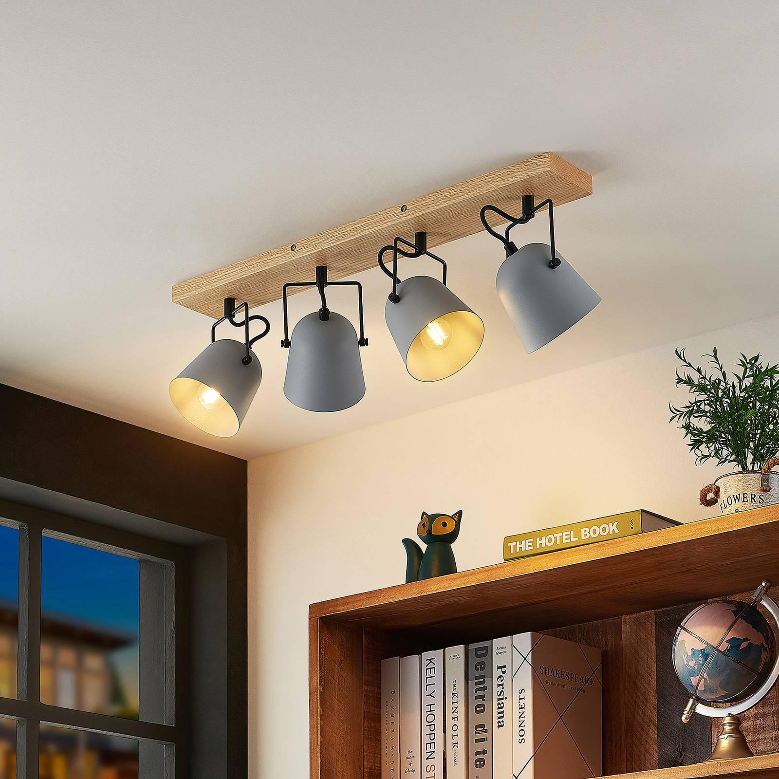 Lindby Adalin -kattovalaisin, 4-lamppuinen, harmaa