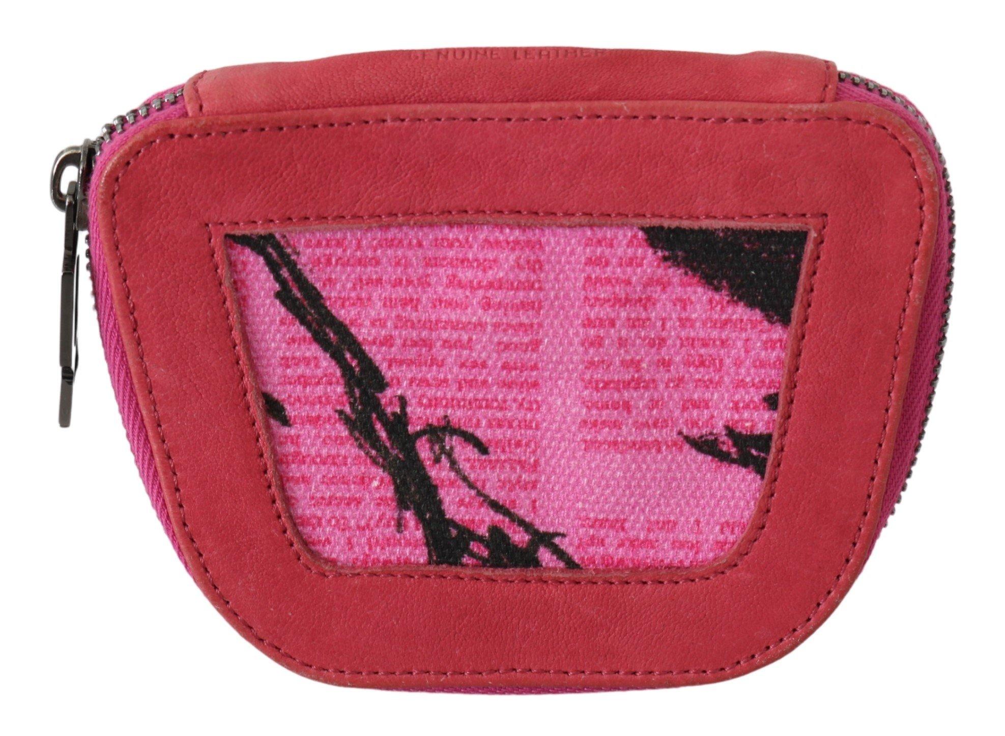 PINKO Women's Suede Printed Coin Holder Wallet Pink VAS9138